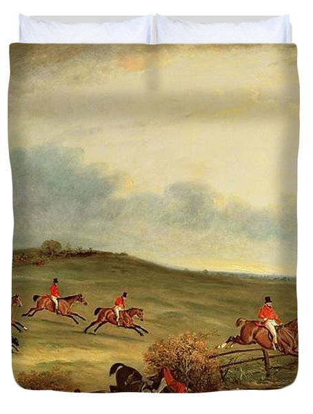 The Quorn In Full Cry Near Tiptoe Hill Duvet Cover