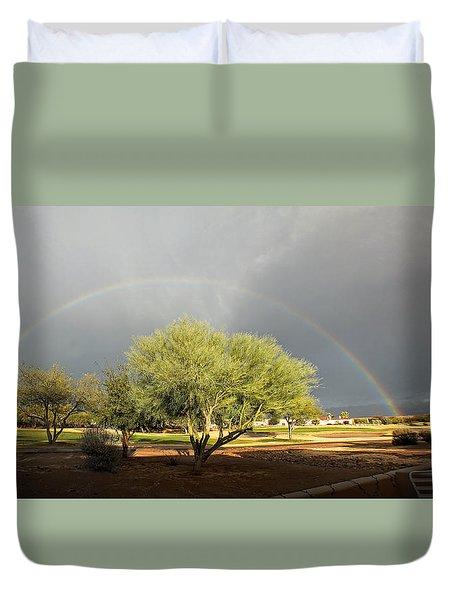 The Rain And The Rainbow Duvet Cover