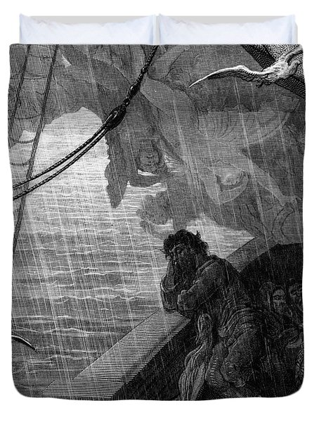 The Rain Begins To Fall Duvet Cover by Gustave Dore
