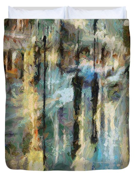 Duvet Cover featuring the painting The Rain In Paris by Dragica  Micki Fortuna