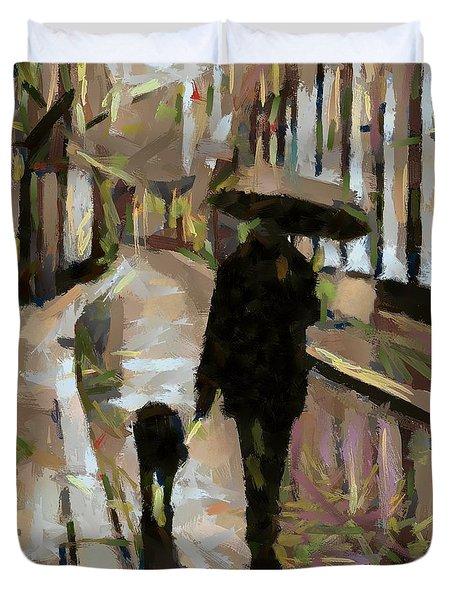The Rainy Walk Duvet Cover by Dragica  Micki Fortuna