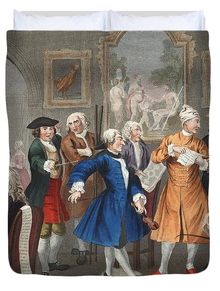 The Rakes Levee, Plate II, From A Rakes Duvet Cover by William Hogarth