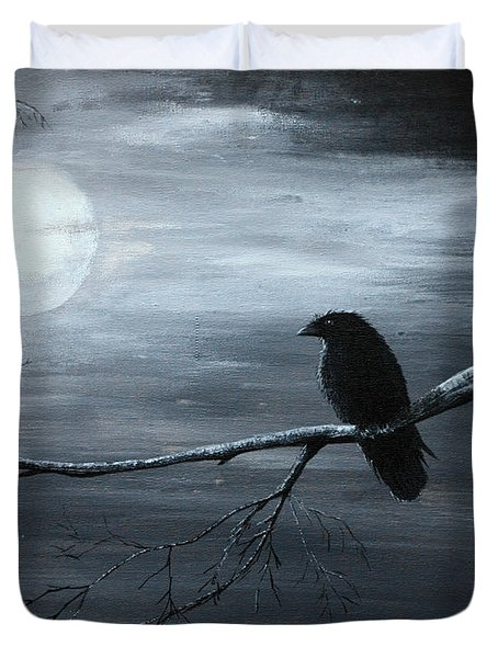 The Raven Piece 2 Of 2 Duvet Cover by Gray  Artus