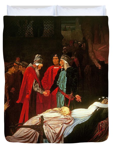The Reconciliation Of The Montagues And The Capulets Over The Dead Bodies Of Romeo And Juliet Oil Duvet Cover