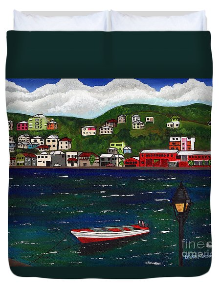 The Red And White Fishing Boat Carenage Grenada Duvet Cover