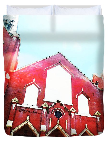 The Red Church By Sharon Cummings Duvet Cover by Sharon Cummings