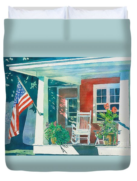 Duvet Cover featuring the painting The Red Cottage by LeAnne Sowa