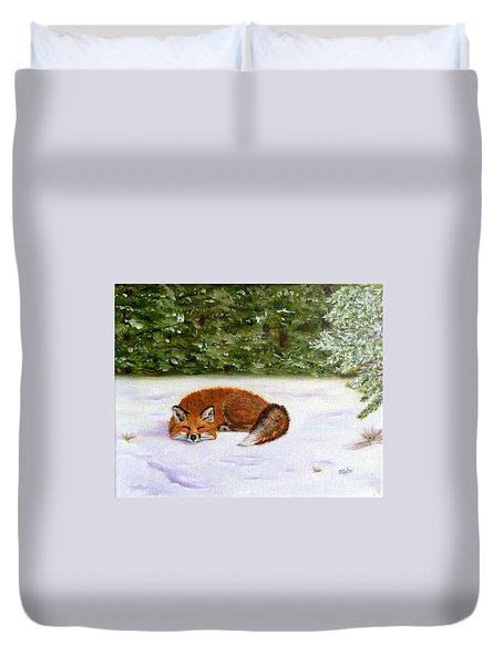 The Red Fox Of Winter Duvet Cover