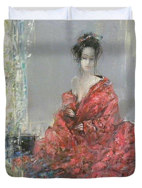 The Red Kimono Duvet Cover