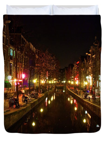 Duvet Cover featuring the photograph The Red Lights Of Amsterdam by Jonah  Anderson