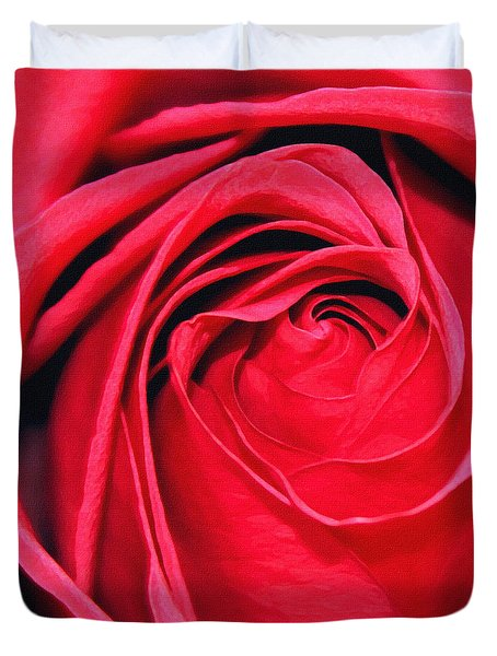 Duvet Cover featuring the painting The Red Rose Blooming by Karon Melillo DeVega