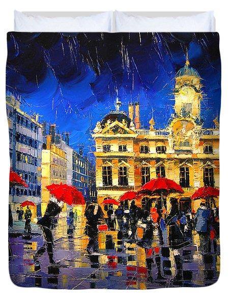 The Red Umbrellas Of Lyon Duvet Cover