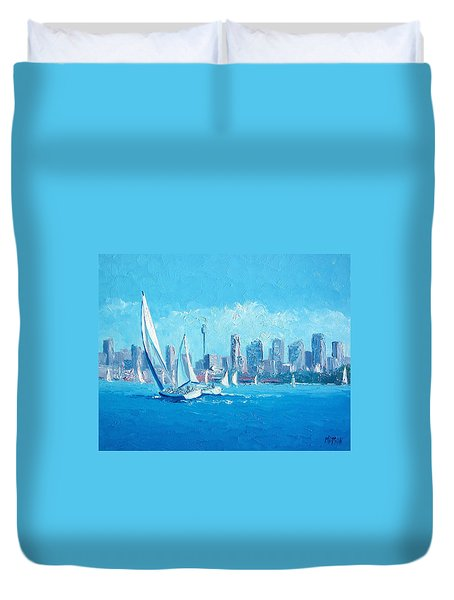 The Regatta Sydney Habour By Jan Matson Duvet Cover