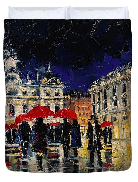 The Rendezvous Of Terreaux Square In Lyon Duvet Cover