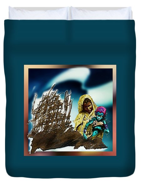 Duvet Cover featuring the photograph The Rescued  Alien  Child by Hartmut Jager
