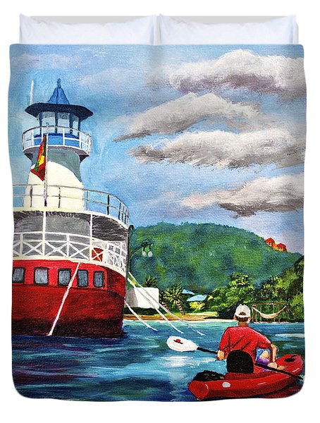 Out Kayaking Duvet Cover