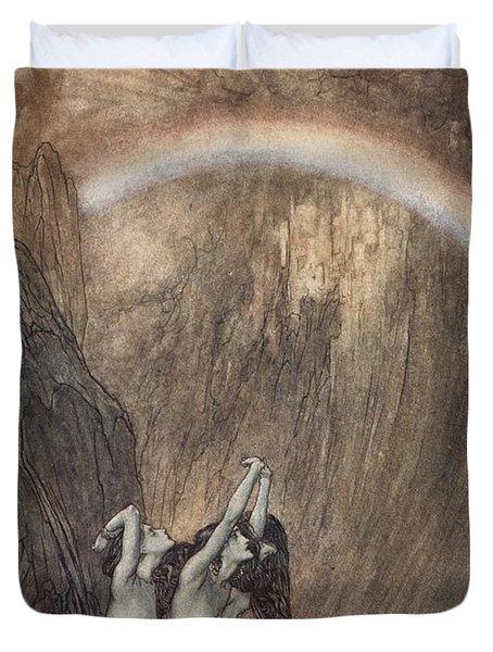 The Rhine S Fair Children Bewailing Their Lost Gold Weep Duvet Cover