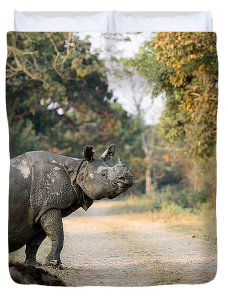 The Rhino At Kaziranga Duvet Cover by Fotosas Photography