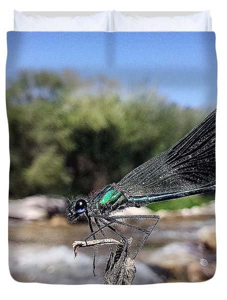 Duvet Cover featuring the photograph The River Dragonfly by Stwayne Keubrick