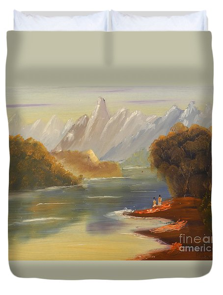 The River Flowing From A High Mountain Duvet Cover