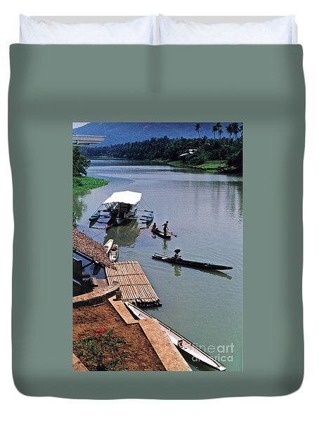 The River Leading To Pagsanjan Falls In The Philippines Duvet Cover by Jim Fitzpatrick