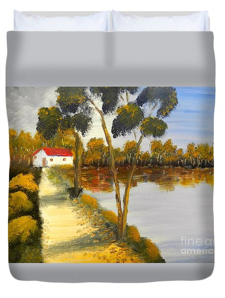 Duvet Cover featuring the painting The Riverhouse by Pamela  Meredith