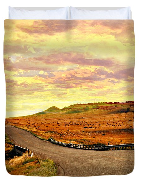 Duvet Cover featuring the photograph The Road Less Trraveled Sunset by Marty Koch