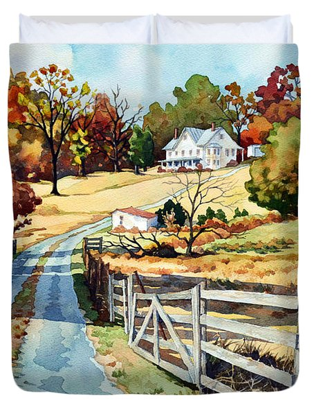 The Road To The Horse Farm Duvet Cover