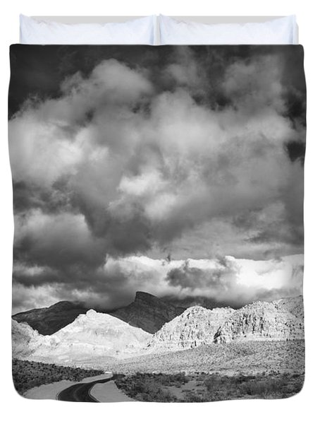 The Road To Turtlehead Peak Las Vegas Strip Nevada Red Rock Canyon Mojave Desert Duvet Cover by Silvio Ligutti