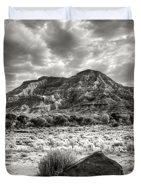 Duvet Cover featuring the photograph The Road To Zion In Black And White by Tammy Wetzel