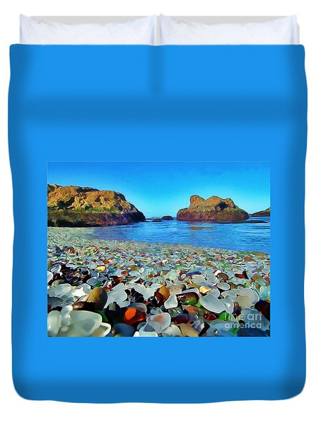 Glass Beach In Cali Duvet Cover