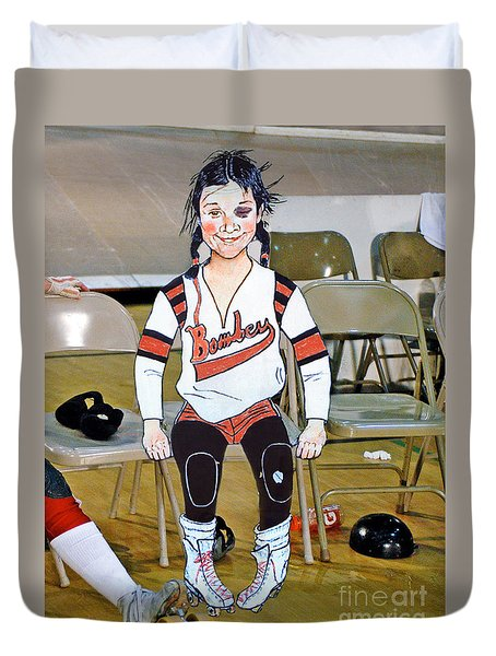 The Roller Derby Girl With A Black Eye Duvet Cover