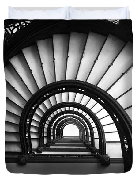 The Rookery Staircase In Black And White Duvet Cover