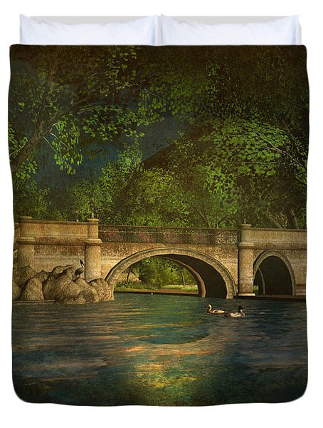 The Rose Pond Bridge 06301302 - By Kylie Sabra Duvet Cover