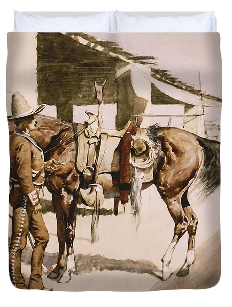 The Rural Guard Mexico Duvet Cover by Frederic Remington