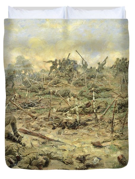 The Russian Infantry Attacking The German Entrenchments Duvet Cover
