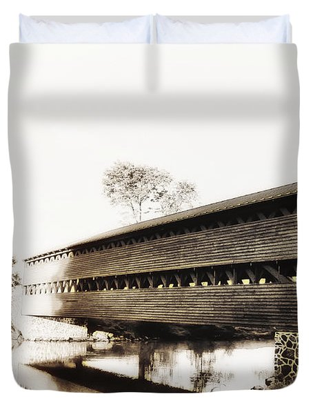 The Sachs Covered Bridge Near Gettysburg In Sepia Duvet Cover by Bill Cannon