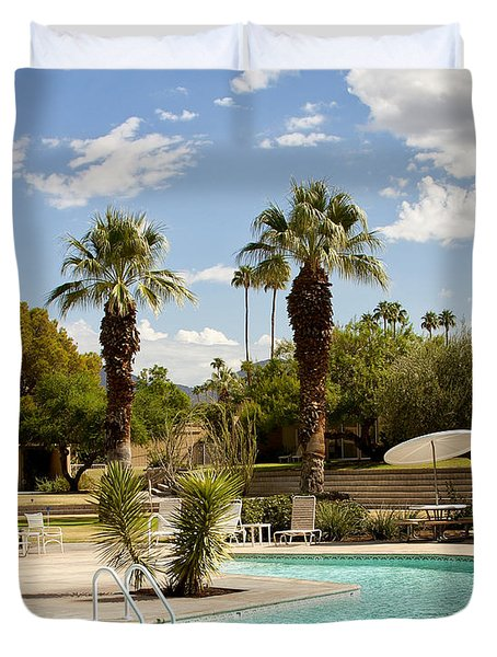 The Sandpiper Pool Palm Desert Duvet Cover by William Dey