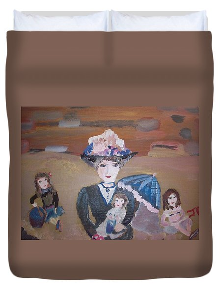 Duvet Cover featuring the painting The Sandy Beach by Judith Desrosiers