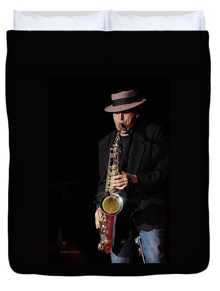 The Sax Man Duvet Cover by Kenny Francis