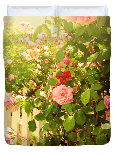 The Scent Of Roses And A White Fence Duvet Cover