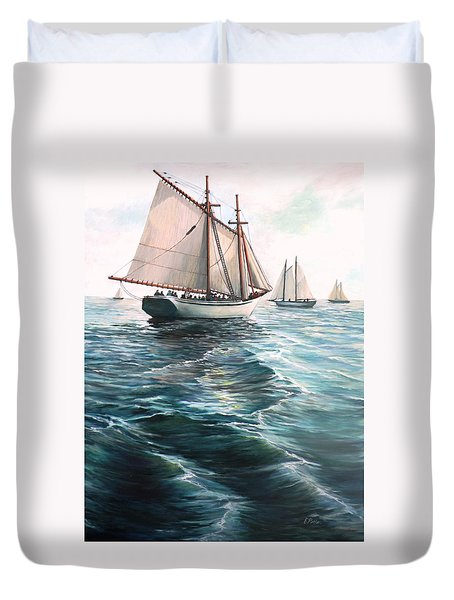 The Schooners Duvet Cover by Eileen Patten Oliver