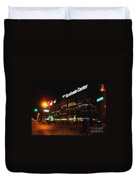 Duvet Cover featuring the photograph The Scott Trade Center by Kelly Awad