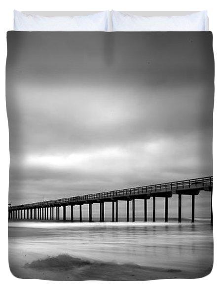 The Scripps Pier - Black And White Duvet Cover