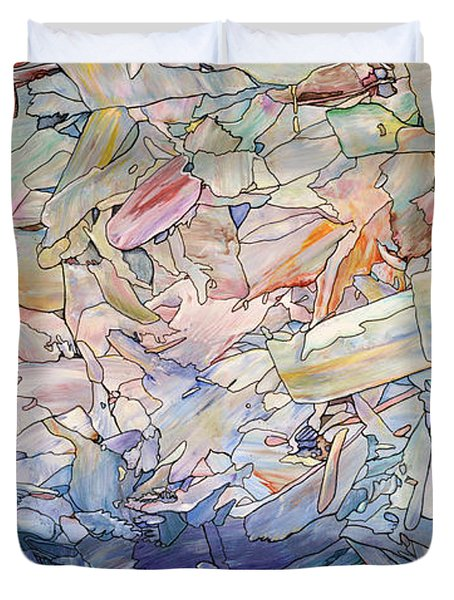 Duvet Cover featuring the painting Fragmented Sea by James W Johnson