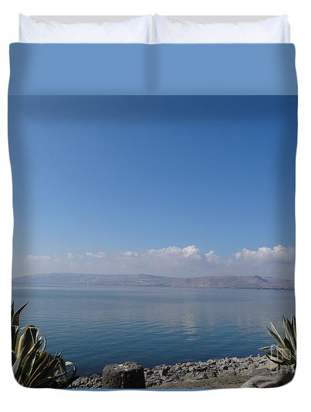 The Sea Of Galilee At Capernaum Duvet Cover