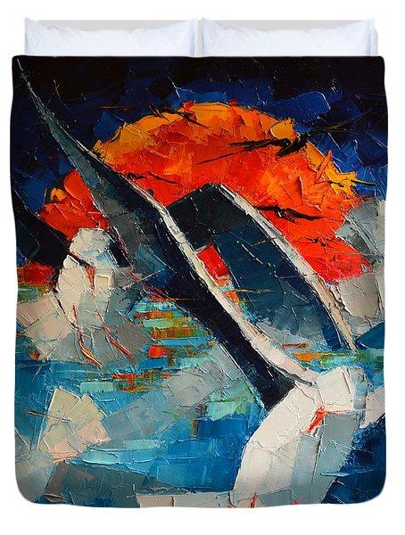 The Seagulls 2 Duvet Cover by Mona Edulesco
