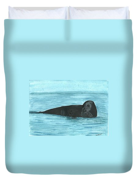 Duvet Cover featuring the painting The Seal by Tracey Williams