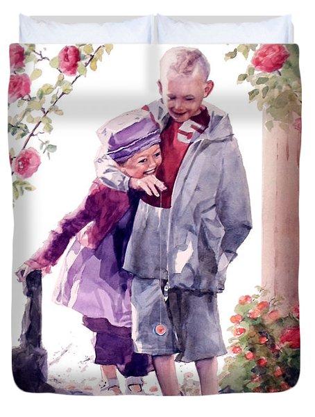 Watercolor Of A Boy And Girl In Their Secret Garden Duvet Cover