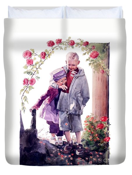Watercolor Of A Boy And Girl In Their Secret Garden Duvet Cover